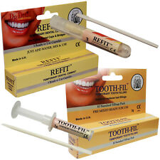 Dr Denti Refit Cement Bridge Cap Fill Tool + Temporary Dental Tooth Filling Kit
