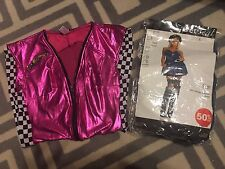 LOT OF 2 USED WOMENS WET SEAL HALLOWEEN COSTUMES SIZE LARGE RACE CAR DRIVER COP