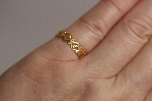 21K Yellow Gold Diamond-shaped pattern Filigree Ring Wedding Band SZ 6.5 -1.7 gr