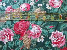 Christmas Rose cotton fabric WAMSUTTA green pinecones gold metallic BTHY half yd