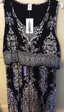 New Women's Dress Black/White Empire Long Sleeveless $68 XXL/2X/1X/3X Flattering