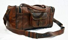 "20""Goat leather bags Duffle bags brown luggage traveling bag genuine briefcases"