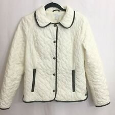 Charter Club Women's Ivory Quilted Jacket Brown Faux Leather Trim - Size Small