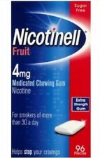 2x Nicotinell Fruit Medicated 4mg Chewing Gum 96 Pieces