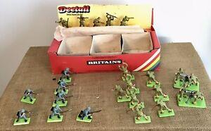 Lot Of 20 Britains Deetail WW2 US & German Troops, US counter box & 2 US Mortar
