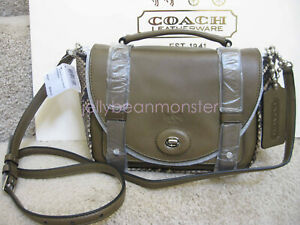 COACH 32385 BLEECKER MINI PYTHON EMBOSSED LEATHER BROOKLYN MESSENGER BAG Natural