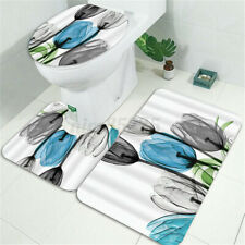 Bathroom Shower Curtain Tulip Floral Anti-slip Rug Toilet Cover Mat Home   #