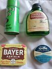 Vtg 4 Tin Medicine Containers Doan's Pulls Bayer Raleigh Ointment