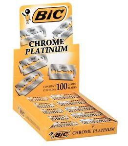 100  BIC CHROME PLATINUM DOUBLE EDGE RAZOR BLADES
