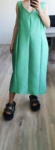 MARINA RINALDI PERSONA Green Silk DRESS Attachable Sleeves Plus 25 US16 UK20 L