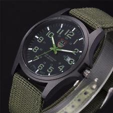 Montre Militaire A Quartz Sport Pour Homme Bracelet Tissus Date Couleur Verte
