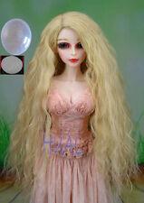 """BJD Doll Hair Wavy Beige Blonde Long Curly Wig SD DZ DOD MSD 8-9-10"""" 1/3 +Cap UL"""