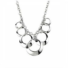 Sterling Silver Necklace Open Disc Cluster Necklace Elements Silver N2932