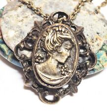 "CAMEO_Bronze Pendant on 18"" Chain Necklace_Boho Chic Retro Vintage Woman_72N"