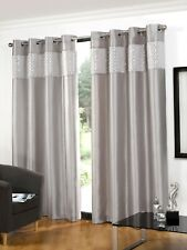 Hamilton McBride Glitz Silver Ring Top / Eyelet Faux Silk Lined 90 x 72 Curtains