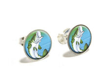 Bass Fish Jumping out of water - Fishing - Novelty Silver Plated Stud Earrings