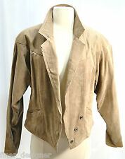 Vintage 80s womens M Textured Suede Leather crop Coat Jacket sexy outerwear VTG