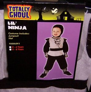 TOTALLY GHOUL LIL' NINJA  HALLOWEEN COSTUME NWT!  SIZE TODDLERS 4-6 YRS