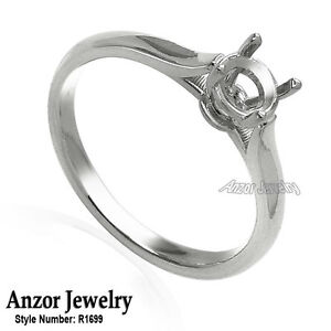 14k White Gold Engagement Ring Setting For round stone. .65ct to .75ct
