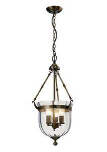 Hanging Lantern Flush Pendant Antique Brass 3 Light Handmade Traditional Glass
