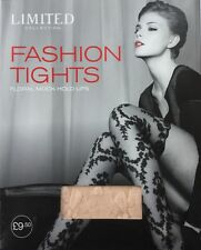 M&S New  Limited Fashion Collection Tights, Floral Mock Hold Ups. Nude Small