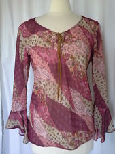 SIZE S - FASHION BUG Peasant Blouse Top Pink Tan Paisley Floral