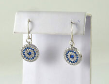Silver cubic zirconia evil eye earrings ,Hamasa CZ earrings,Lucky charm earrings