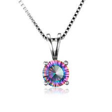 "12mm Genuine Mystic Topaz 16"" Necklace Pendant 925 Silver special occasion Hot"