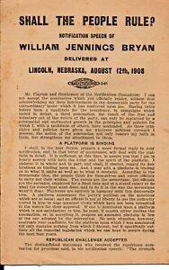 Shall The People Rule? Speech by William Jennings Bryan at Lincoln NE 1908