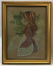 Vintage Framed Crewel Embroidery Needlepoint Brunette Brown Hair Girl Profile