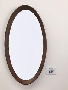 Modani Oval Walnut Bathroom Entry Wall Mirror Bedroom Living Room Hallway