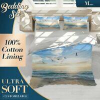 Seagull Horizon Beach Blue Quilt Doona Cover Set Fine Breathable Cotton