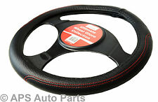 Luxury Steering Wheel Cover Red Stitching Grip Wheel Protector Car Glove Soft