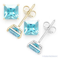 Faux Blue Topaz Square Princess Cut CZ Crystal Stud Earrings 925 Sterling Silver