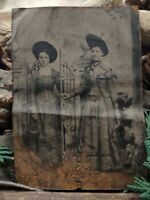 "Vintage Antique Tin Photograph 2 women posing for picture 2 1/2"" x 3 1/2"""