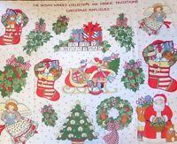 Susan Winget Christmas Appliques Fabric Panel Angels Santa Tree