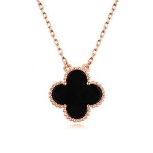 925 Silver Four Leaf Clover Necklace, Black Agate, Mother of Pearl