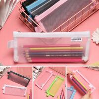 Transparent Mesh Pencil Pen Case Cosmetic Makeup Coin Pouch Zipper Bag Purse