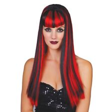 Red Black Long Wig Ladies Vampiress Vixen Halloween Fancy Dress Accessory
