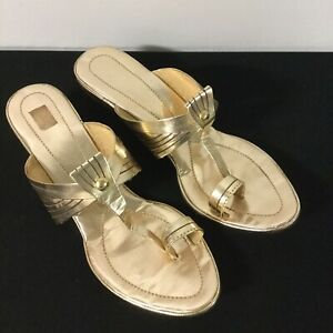 Cleopatra Egyptian Gold Leather Costume Heels Shoes 7 38