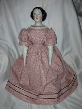 "Antique Beautiful Early 25"" Jenny Lind China Lady Doll Molded Bun Antique Body"