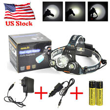 Rechargeable 12000LM 3xXM-L T6 LED Headlamp Headlight Torch+AC/Car Charger+18650