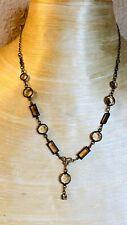 Clara Beau Necklace Open Bezel Crystal Smokey Topaz Sautoir Collar
