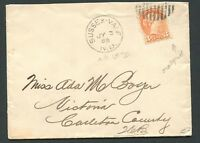 """CANADA #37c SMALL QUEEN NEW BRUNSWICK TOWN CANCEL COVER """"SUSSEX VALE"""""""