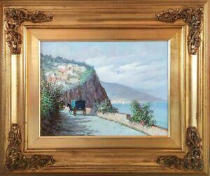Paesaggio Costiera Amalfitana-Marina-Antico Borgo-Dipinto Olio su tela firmato
