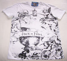 Pirates Of The Caribbean Mens White Aqua De Vida Printed T Shirt Size XXS New