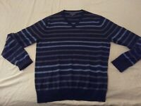 Mens Banana Republic Wool Sweater M Medium Navy Blue V-Neck