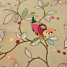 Patchwork Birds Branches Leaves on Taupe P Kaufman Home Decor Upholstery Fabric