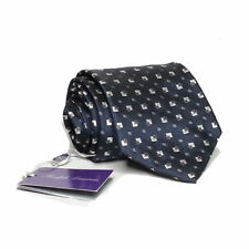 "Ralph Lauren Purple Label Men Silk Dress Tie Black with White Print 3.5"" wide"