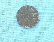 """1926  Canadian Near """" 6 """"  Five Cent Piece"""